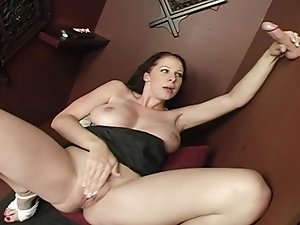 Busty whore sucking priest's cock on confessional glory hole