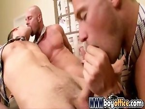 Gay office boys in hot cock sucking threesome on the desk