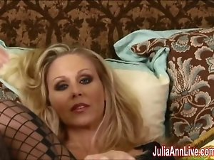 Busty Milf Julia Ann All Alone in Stockings!