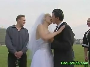 Bride In A Gang Bang Outdoors