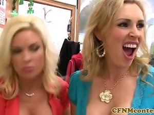 Busty cfnm milfs both receive creampies