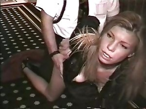 Slut fucking in hotel hallway
