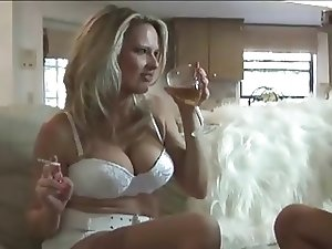Busty blonde MILF seducing younger gay