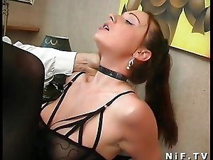 Hairy french brunette gets hard anal fucked