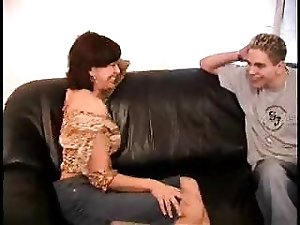 Redhead mature lady and sexy boy have fun