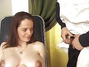 French pregnant babe in medical fetish tube scene